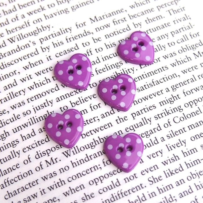 Purple Polka Dot Heart Buttons