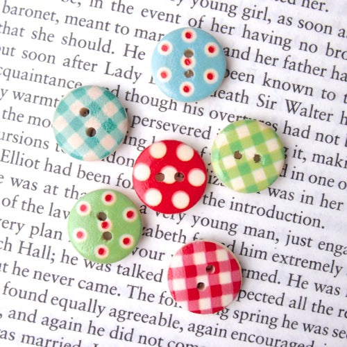 Gingham & Spots Wooden Buttons - Bright