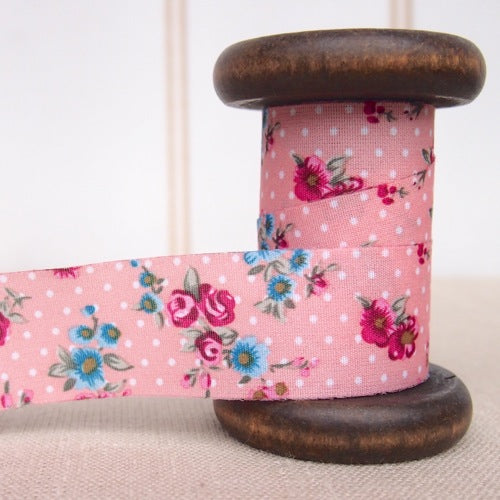 Polka Dot Rose Ribbon - 25mm - Pink
