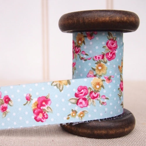 Polka Dot Rose Ribbon - 25mm - Blue
