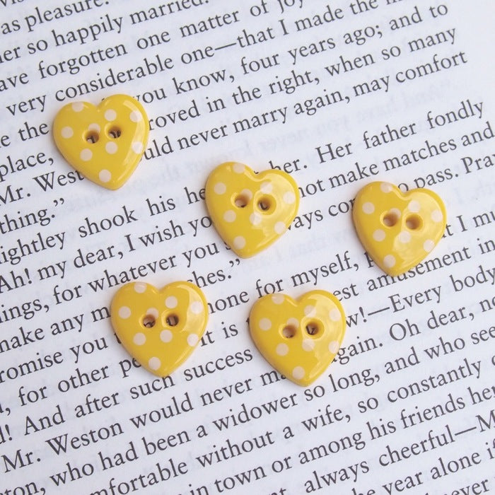 Yellow Polka Dot Heart Buttons