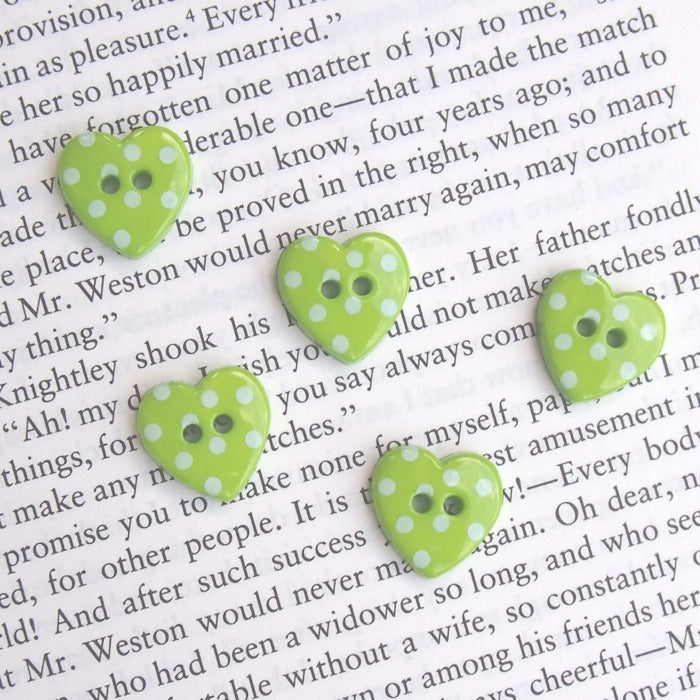 Bright Green Polka Dot Heart Buttons