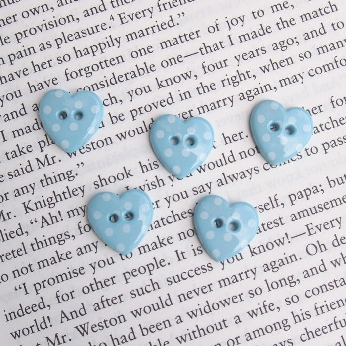 Blue Polka Dot Heart Buttons