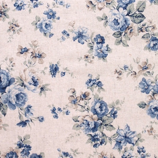 Sevenberry Antique Blue Rose Linen - BOLT END