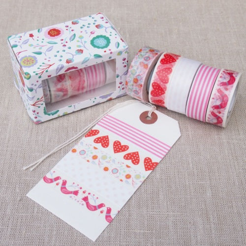 Romantic Flowers Washi Tape Set - Pinks