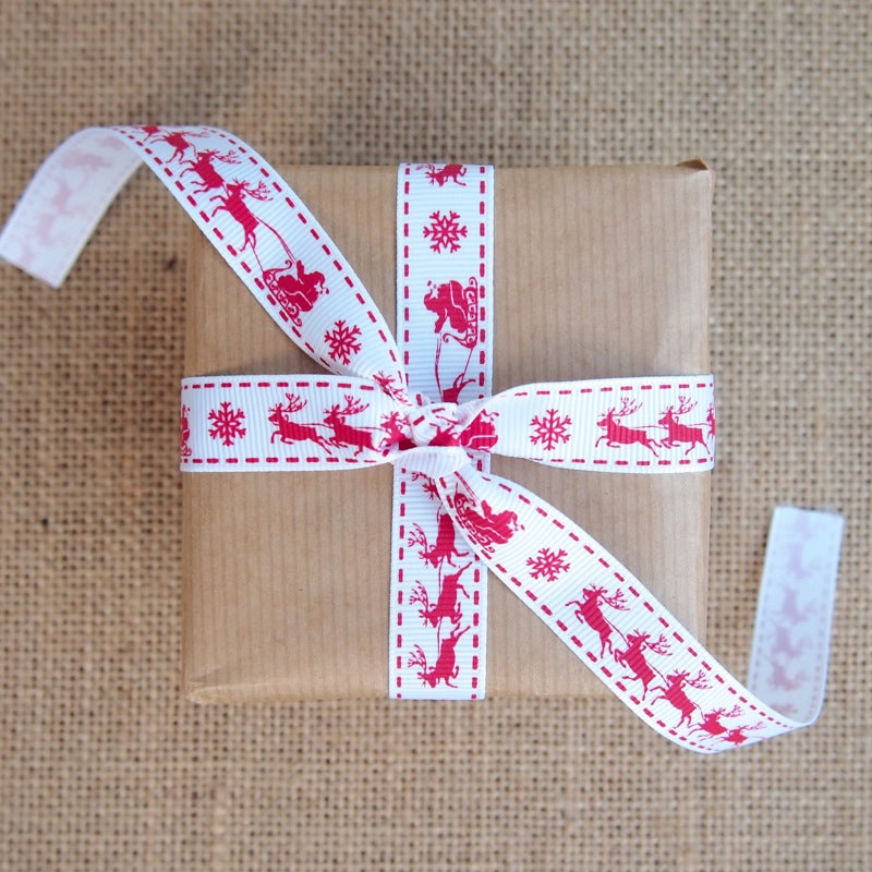 White Christmas Sleigh Grosgrain Ribbon - 16mm