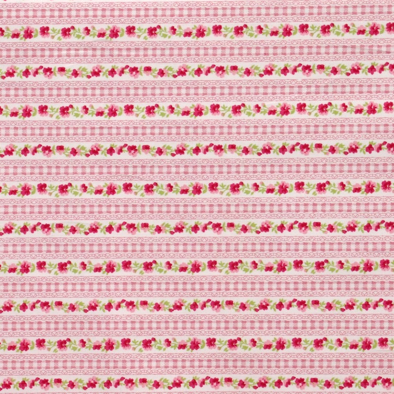 Pink Gingham Lace Stripe