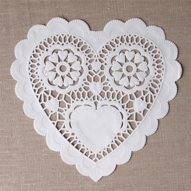 Large White Heart Doilies