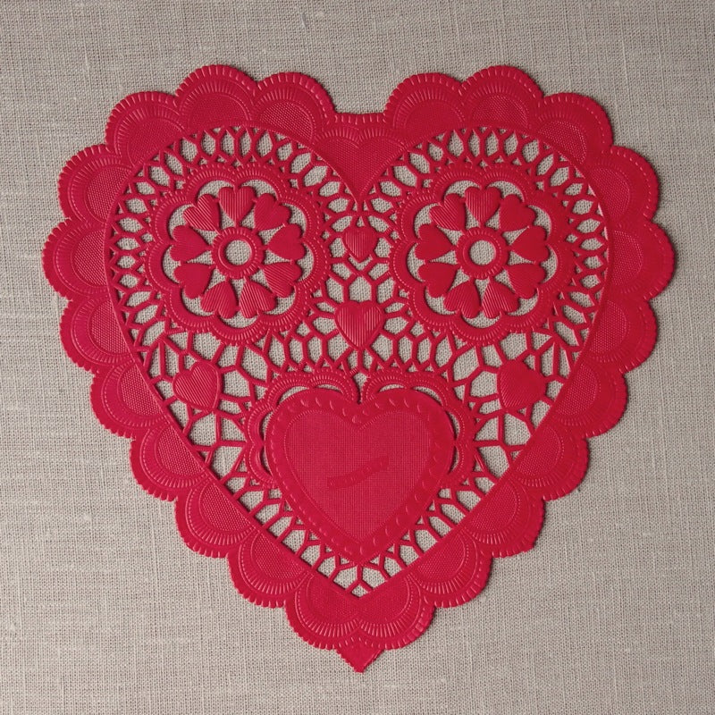 Large Red Heart Doilies