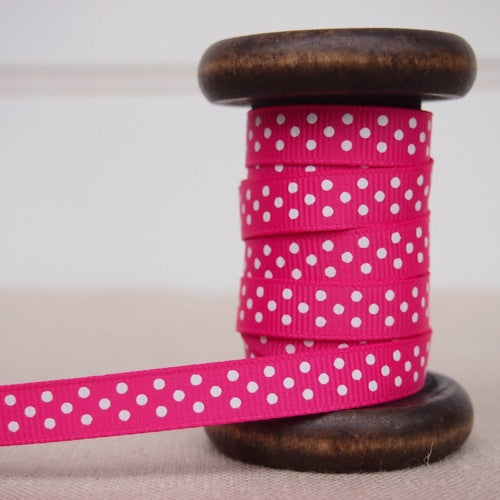 Hot Pink Polka Dot Grosgrain Ribbon - 9mm