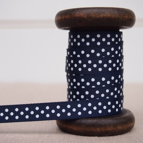 Navy Polka Dot Grosgrain Ribbon - 9mm