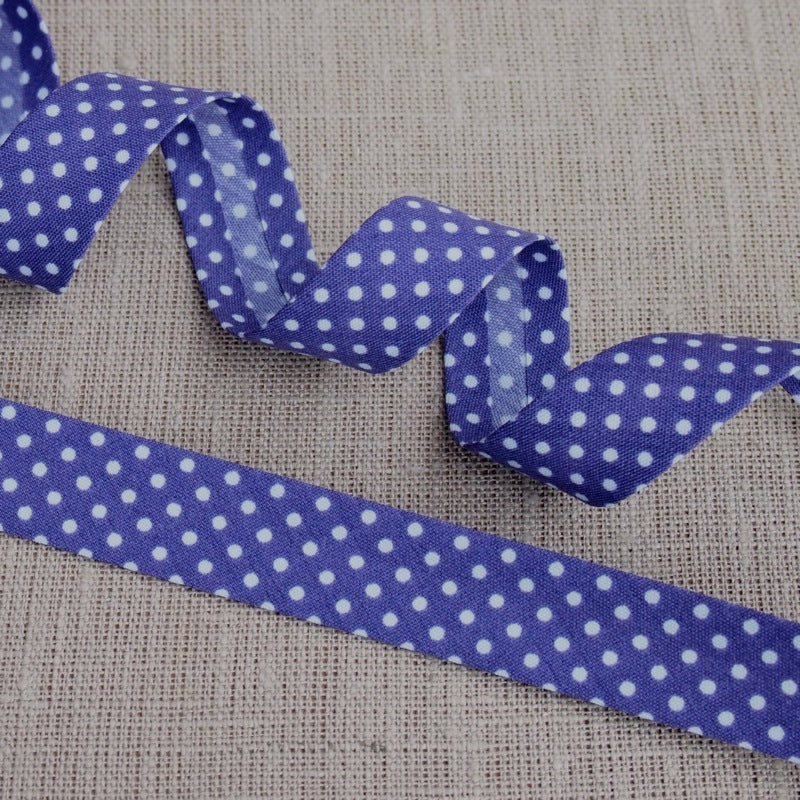 Purple Polka Dot Bias Binding -18mm