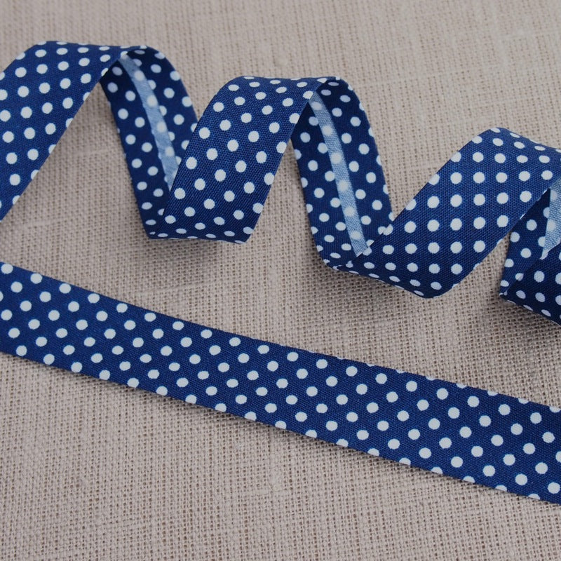 Navy Polka Dot Bias Binding -18mm