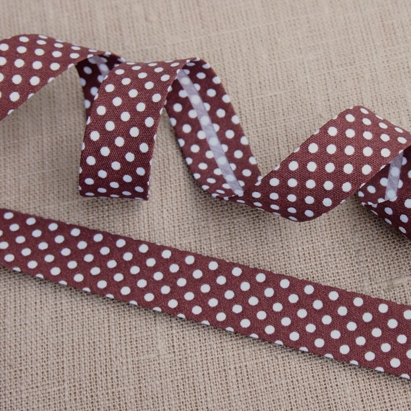 Brown Polka Dot Bias Binding -18mm