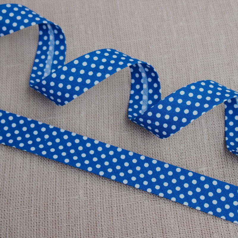 Royal Blue Polka Dot Bias Binding -18mm