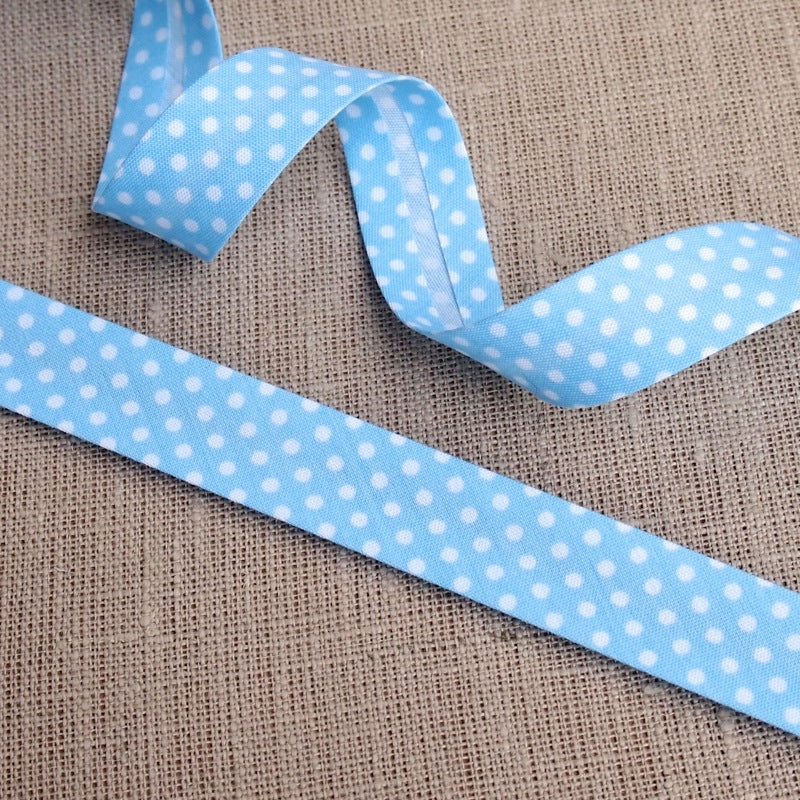 Light Blue Polka Dot Bias Binding -18mm