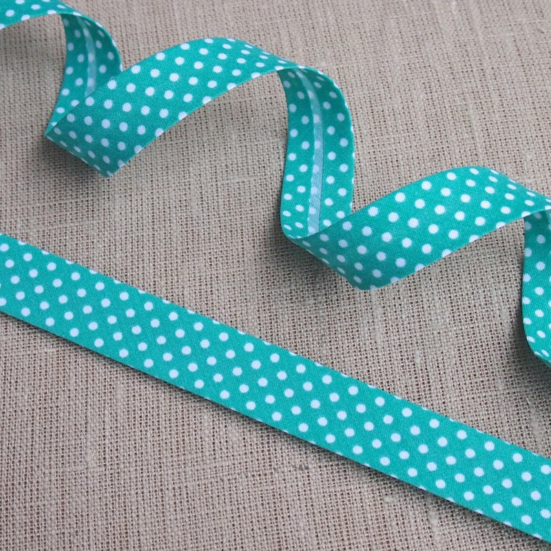 Jade Green Polka Dot Bias Binding -18mm