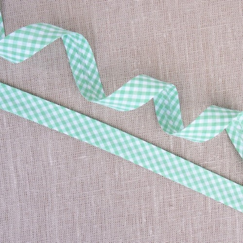 Mint Gingham Bias Binding -18mm