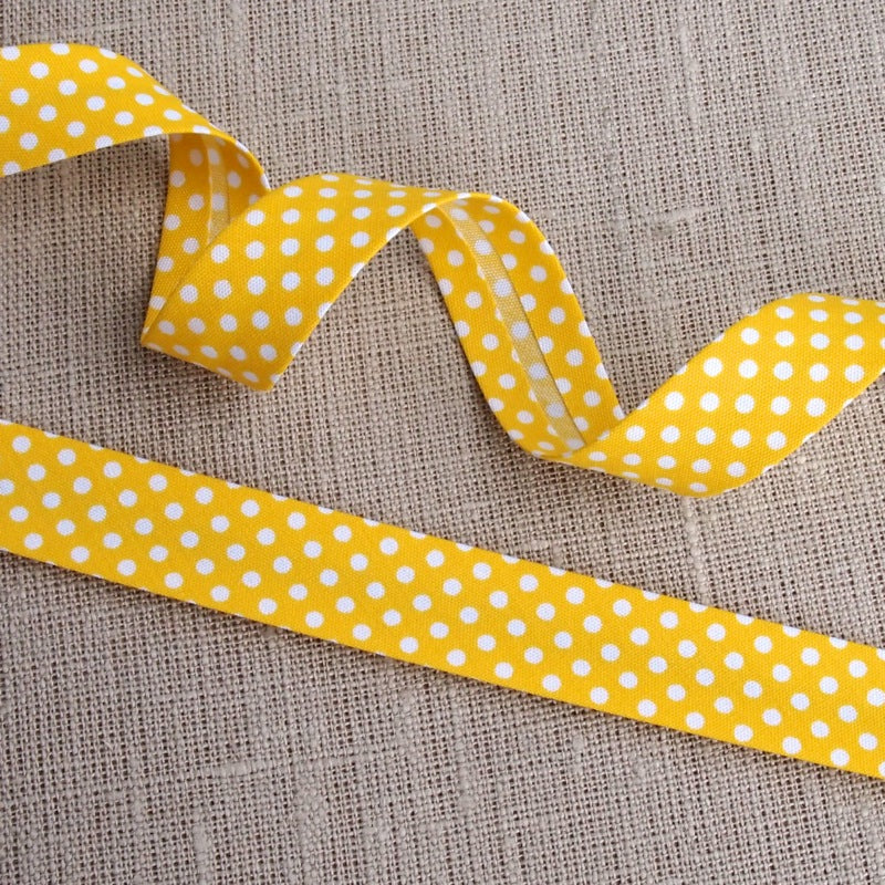 Yellow Polka Dot Bias Binding -18mm