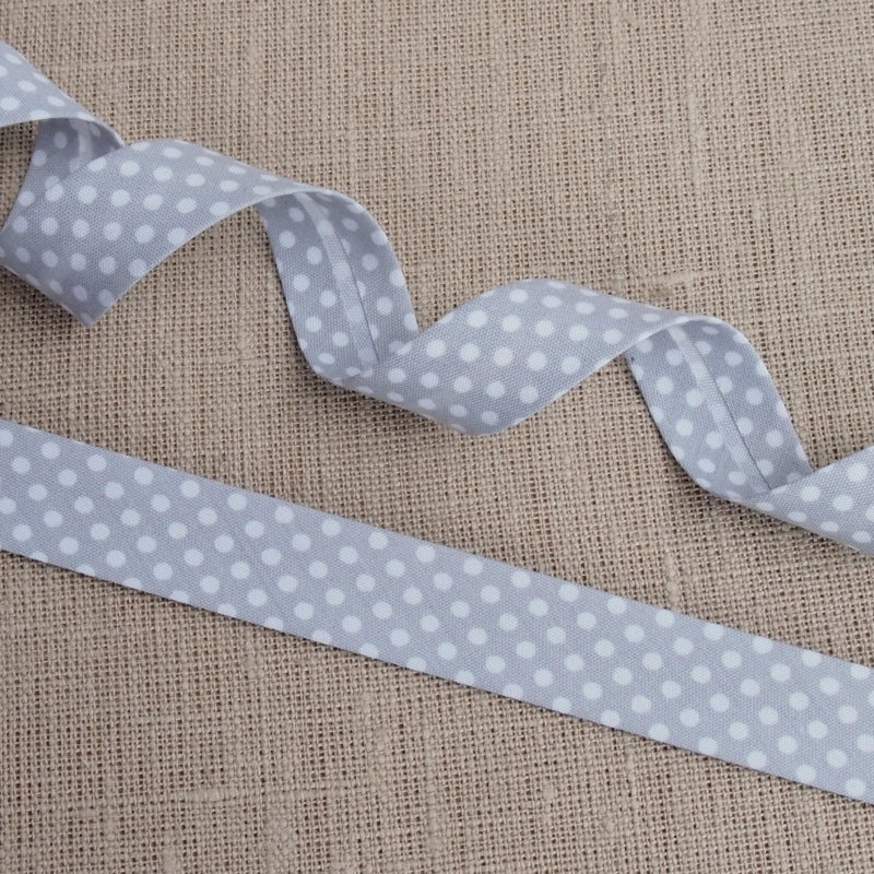 Grey Polka Dot Bias Binding -18mm