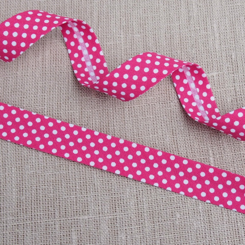 Hot Pink Polka Dot Bias Binding -18mm