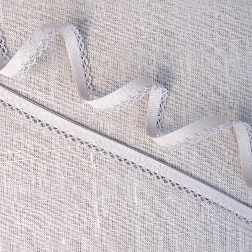 Mocha Lace Edge Linen Bias Binding -18mm