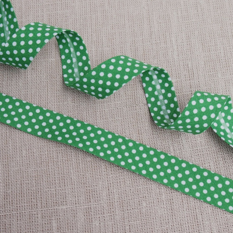 Green Polka Dot Bias Binding -18mm