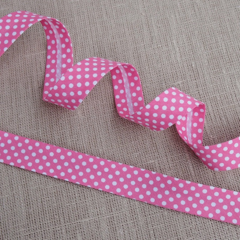 Pink Polka Dot Bias Binding -18mm