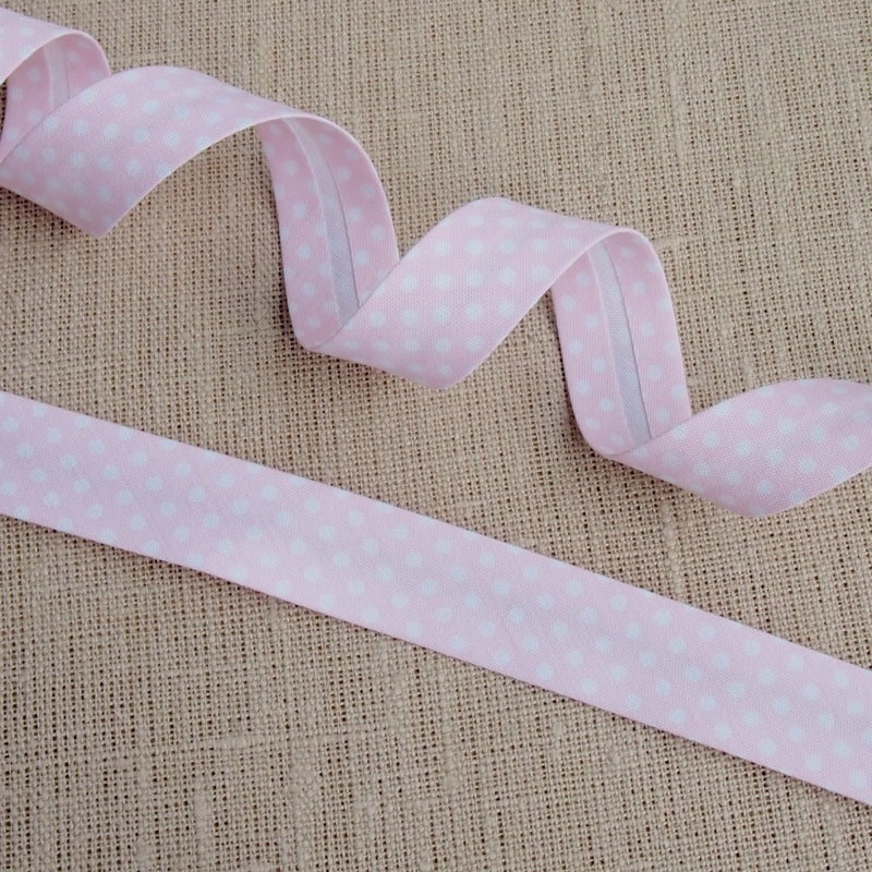 Light Pink Polka Dot Bias Binding -18mm