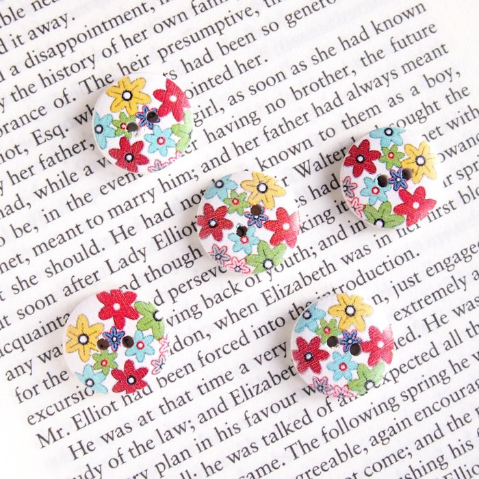 Printed Round Buttons - Bright Flower