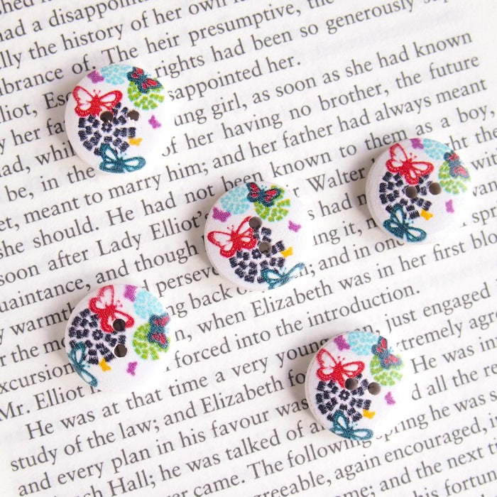 Printed Round Buttons - Butterfly