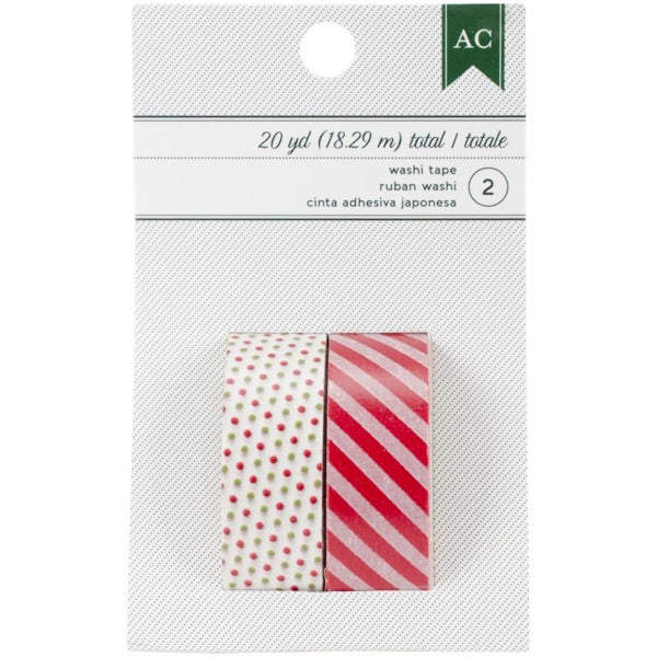 American Crafts Festive Washi Tape - Red & Green Dots and Stripes