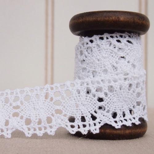 Crochet Lace Trim - 30mm - White