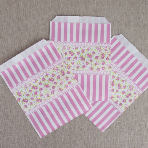 Floral Stripe Paper Bags