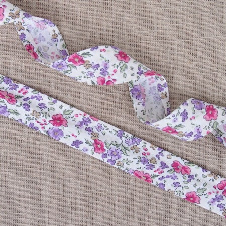 Pink & Purple Ditsy Floral Bias Binding -25mm