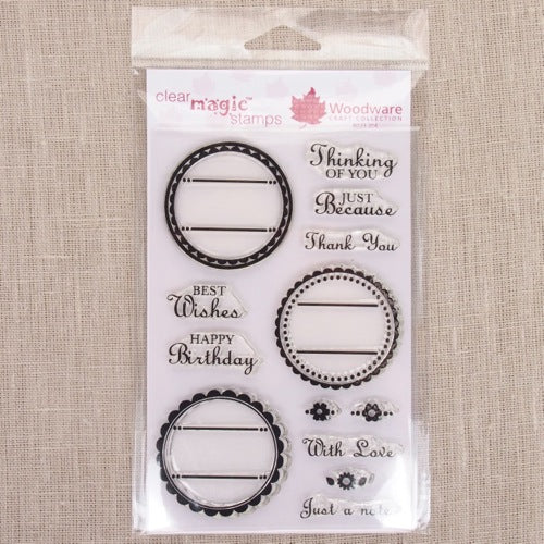 Scallop Circles Greeting Acrylic Stamp Set
