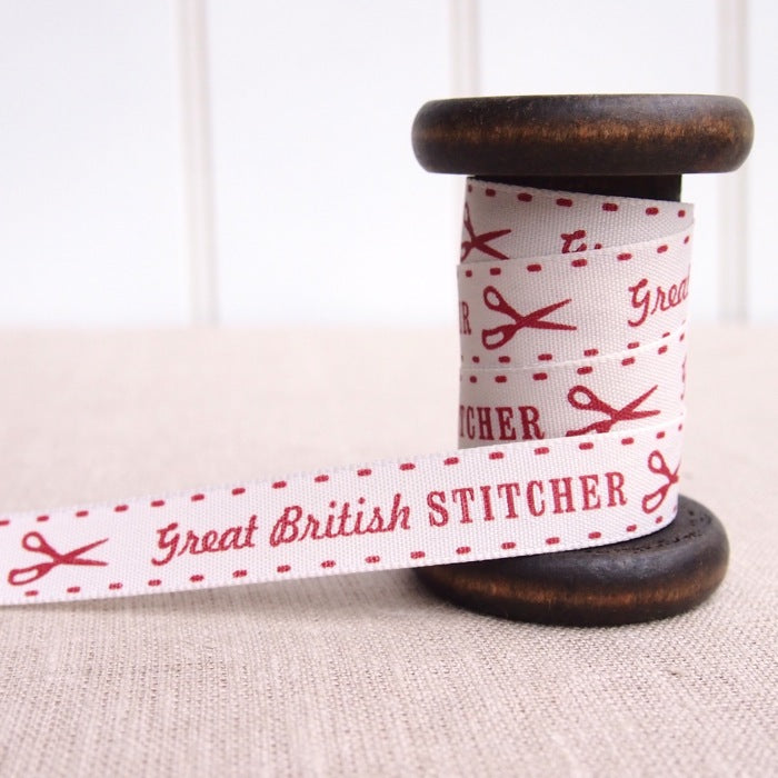 Great British Stitcher Ribbon - 15mm - Red