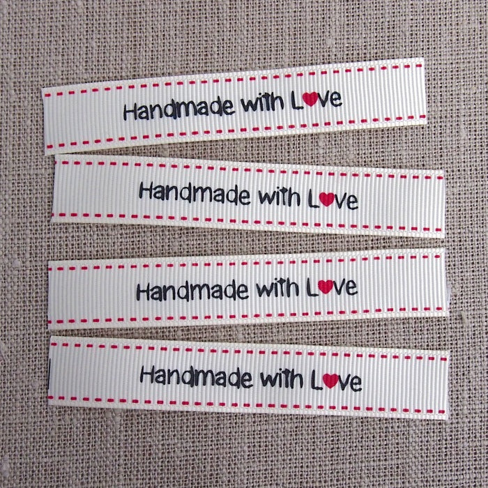 Handmade with Love Grosgrain Labels - 16mm