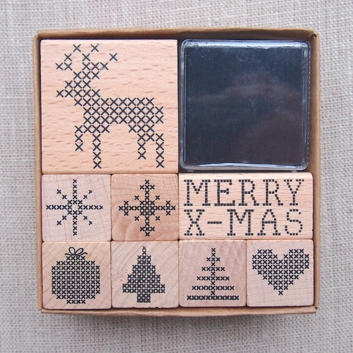 Cross Stitch Christmas Wooden Stamp Set