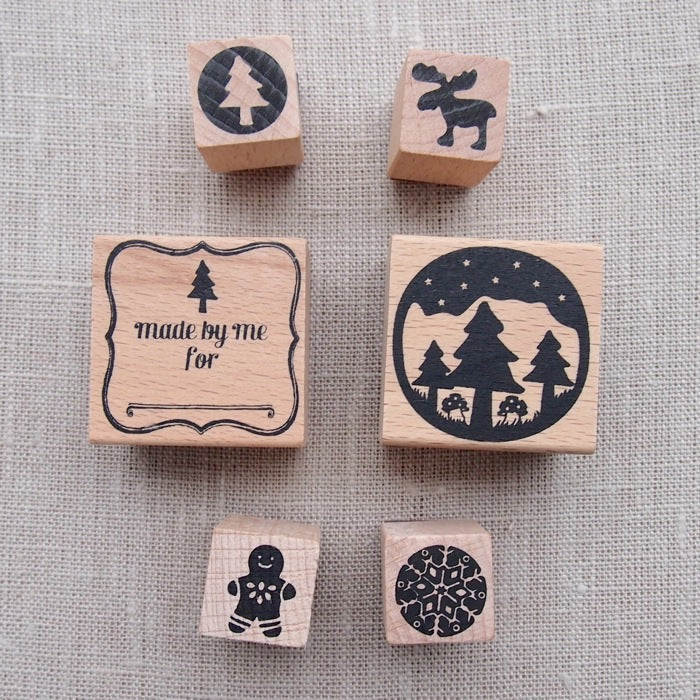 Country Christmas Wooden Stamp Set