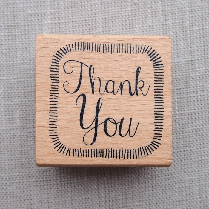 Thank You Square Wooden Stamp (Border)