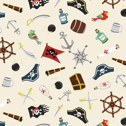 Pirates - Makower - Pirate Icons Cream - BOLT END