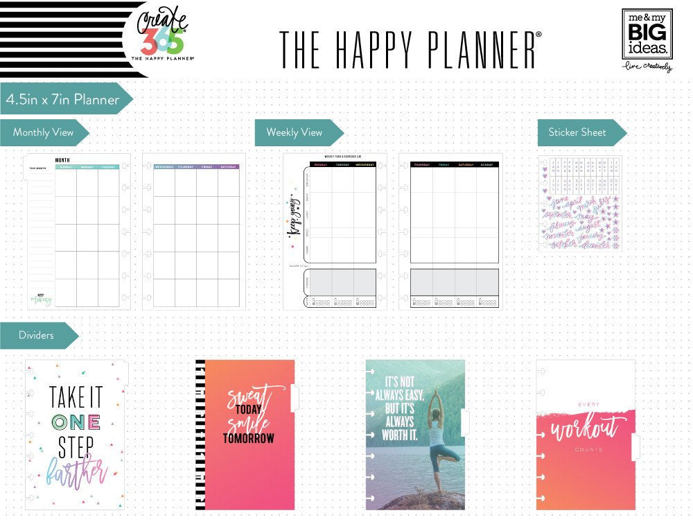 MAMBI Create 365 - MINI Sweat, Smile, Repeat Undated Happy Planner