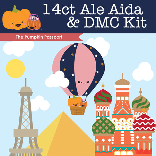 KIT - The Pumpkin Passport - 14ct Aida Ale & DMC Threads