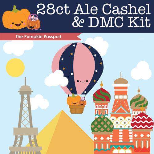KIT - The Pumpkin Passport- 28ct Cashel Ale & DMC Threads