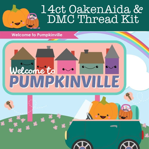 KIT - Pumpkinville - 14ct FQ Aida & Threads