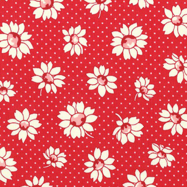 Lecien Retro 30s 2016 - Red Dotty Flower
