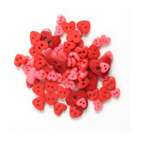 Mini Heart Buttons Red