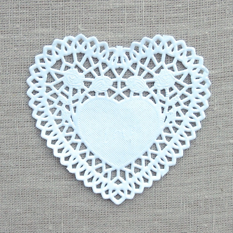 Small White Heart Doilies