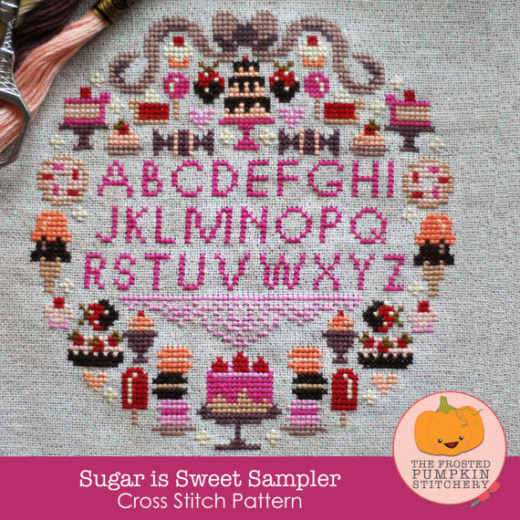 Frosted Pumpkin Stitchery - Sugar is Sweet Sampler Paper Pattern